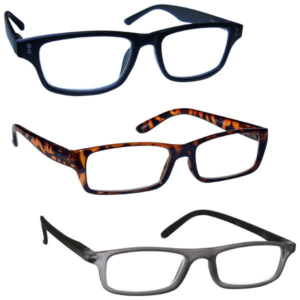 394198a4a66 Mens Brown Grey Black Slimline Gift Pack 3 Reading Glasses UV Reader ...