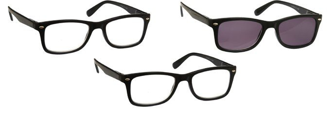 Black 2 x Reading Glasses & Sun Reader 3 Pack UVRSR3PK023