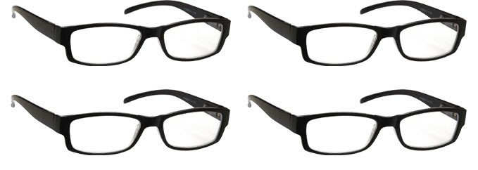 Black Reading Glasses 4 Pack UVR4PK032