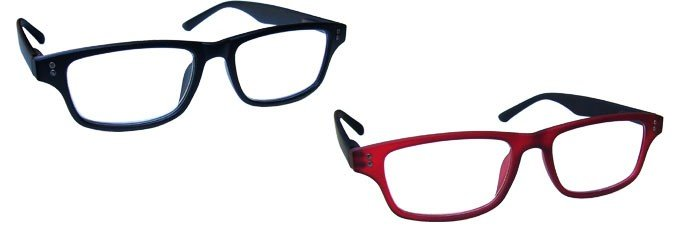 Matt Black Rubberized Red Reading Glasses Value 2 Pack RR33-1Z