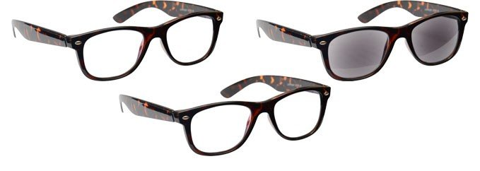 Brown Tortoiseshell 2 x Reading Glasses & Sun Reader 3 Pack UVRSR3PK007