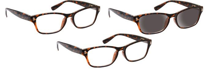 Brown Tortoiseshell 2 x Reading Glasses & Sun Reader 3 Pack UVRSR3PK010