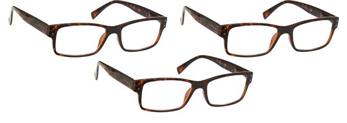 Brown Tortoiseshell Reading Glasses 3 Pack UVR3PK012