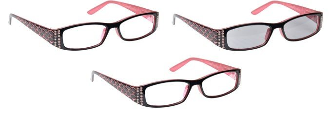Pink Black 2 x Reading Glasses & Sun Reader 3 Pack UVRSR3PK001