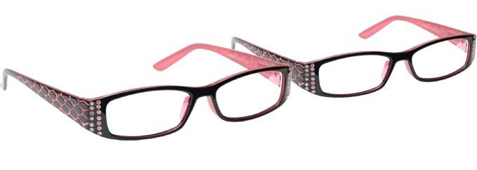 Pink Black Reading Glasses 2 Pack UVR2PK001