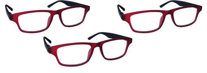 Rubberized Red Black Reading Glasses Value 3 Pack RRR33-Z
